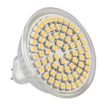 TOOGOO (R) MR16 GU5.3 Bombilla 72 3528 SMD LED luz Lampara Blanco Calido AC/DC 12V: Amazon.es: Hogar