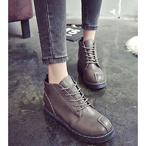 Zapatos de Invierno Toe Claro Casual Round Otoño botines botines botas Mujer combate de botas PU Light Brown de Marrón Negro rrdqt4