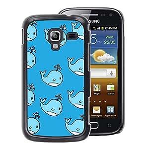 A-type Arte & diseño plástico duro Fundas Cover Cubre Hard Case Cover para Samsung Galaxy Ace 2 (Whale Cute Kids Drawing Blue Children'S)