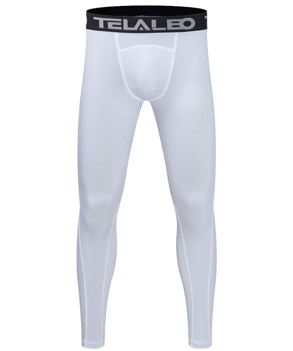 TELALEO Boys' Youth Compression Base Layer Pants Tight Running Leggings Trousers White-1Pcs-XS by TELALEO