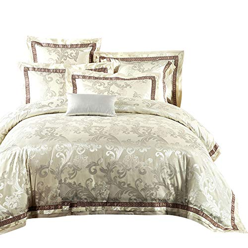 - MKXI Fashionable Pattern Satin Jacquard Silk Duvet Cover Set,Luxury Paisley Queen Set