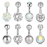 vcmart 8Pcs Short Belly Button Rings 14G Stainless