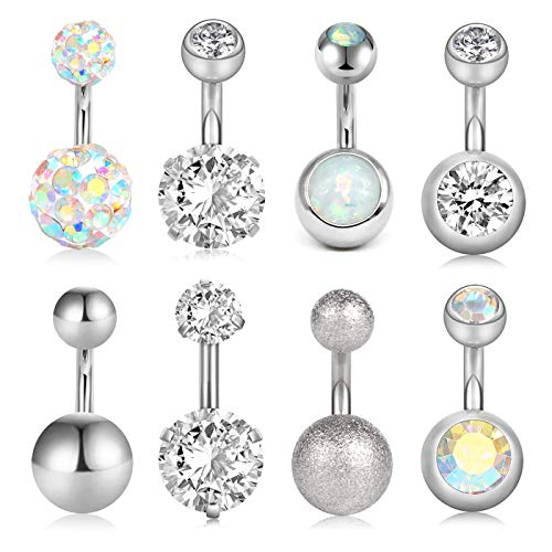 VCMART 8Pcs Short Belly Button Rings 14G Stainless Steel for Women Girls Navel Belly Rings Crystal CZ Barbell Body Piercing 6mm Bar