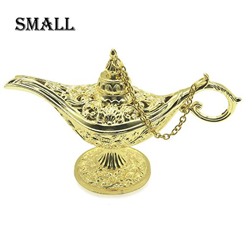 AVESON Classic Vintage Collectable Rare Legend Hollow Magic Genie Light Costume Lamp Home Table Decoration & Gift, Small, Gold