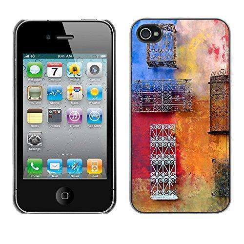 Premio Sottile Slim Cassa Custodia Case Cover Shell // V00001957 Colorful mur // Apple iPhone 4 4S 4G