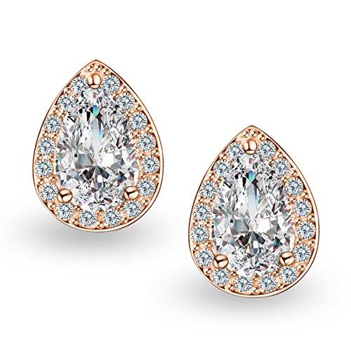 - Quinlivan 2 Pairs Premium Halo Stud Earrings Teardrop Cubic Zirconia Earrings Set for Women, Girls (rose gold)