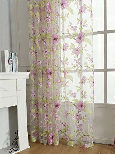 ASide BSide Sheer Curtains Voile Drapes Rod Pockets Countryside Style Floral Leaves Printed Home Decorations For Dining Room Bedroom and Kids Room (1 Panel, W 52 x L 63 inch, Pink) by ASide BSide