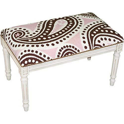 Brown Needlepoint Paisley (123 Creations, Inc. Brown and Pink Paisley Needlepoint Bench)