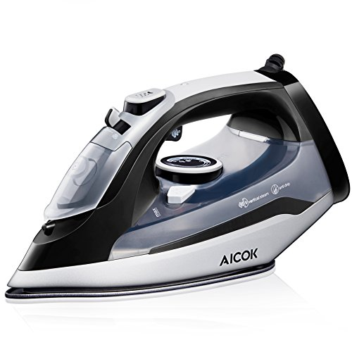 Temp Press (Aicok Steam Iron Professional Garment Steamer with 360° Tangle-Free Cord, 1400W Variable Temperature and Steam Control, Full Function Non-Stick Soleplate Press Iron, Black)