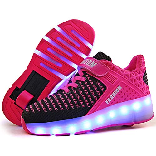 Price comparison product image Ufatansy LED Shoes USB Charging Flashing Sneakers Light Up Roller Shoes Skates Sneakers with Wheels for Kids Girls Boys(3 M US =CN34, Single Wheel, Pink)