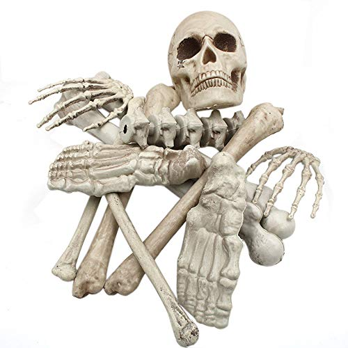 USHOT Halloween Haunters 12pc Bag of Plastic Skeleton Skull Bones Set Prop Decoration AS Show One Size]()