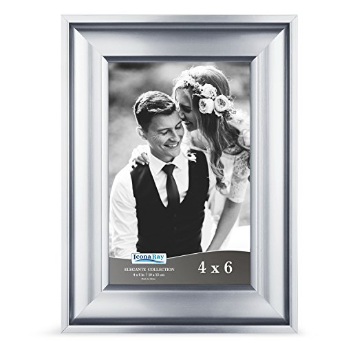 Icona Bay 4x6 Picture Frame (1 Pack, Silver), Silver Photo Frame 4 x 6, Wall Mount or Table Top, Set of 1 Elegante Collection