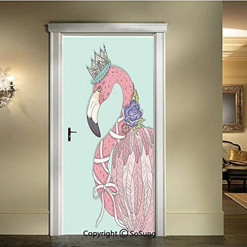 baihemiya 3D Door Mural Wallpaper Stickers,Cute Flamingo Flower Crown Ribbon Fairytale Children Kids Artwork,W30.3xL78.7inch,Self Adhesive Wall Door Stickers DecorBaby Blue Light Pink White