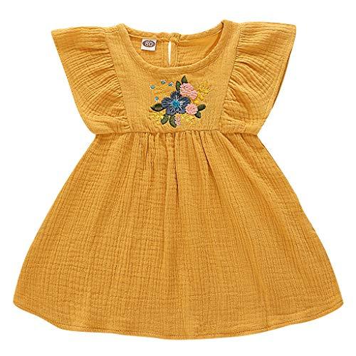 Diufon Fashion Baby Tank Dress, 0-3 Years Old Girls Sleeveless Frill Embellished Flower Vest Dress Summer Casual Dress (80, Yellow) ()