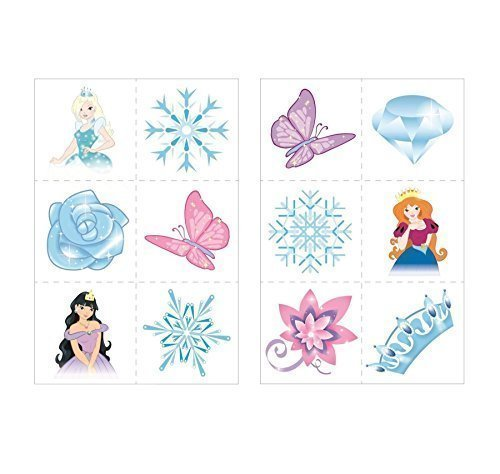 24 x Ice Princess Snow Queen Temporary Tattoos Children Girls Party Bag Stocking Filler Toy by Henbrandt by Henbrandt