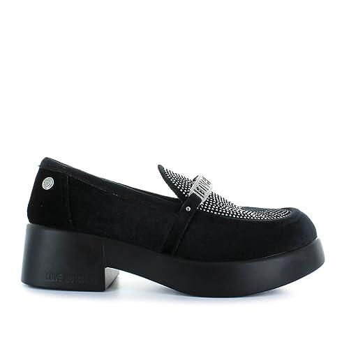 Zapatos de Mujer Mocasín Terciopelo Negro Love Moschino Otoño Invierno 2019: Amazon.es: Zapatos y complementos