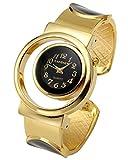Top Plaza Womens Fashion Analog Quartz Gold Tone Bangle Cuff Bracelet Wrist Watch, Unique Hollow Case Design