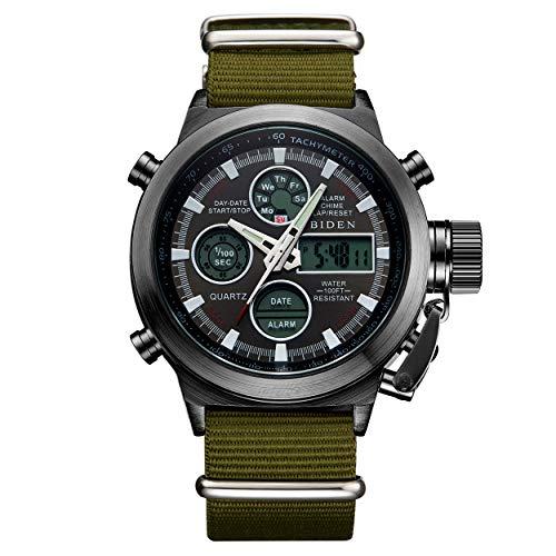 Mens Black Sports Watches Men Digital Analog Waterproof Big Face Military Army Green Nylon Wrist Watch