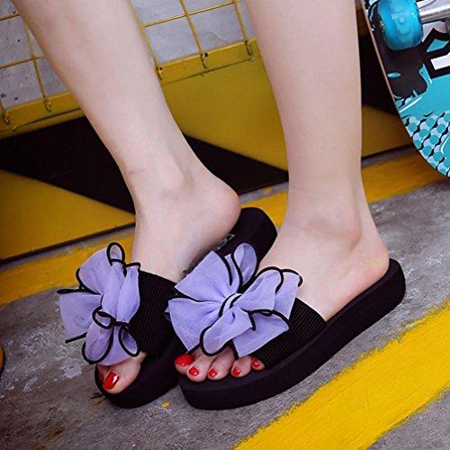 Hunpta Damen Sommer Bowknot Sandalen Slipper Indoor Outdoor Strand Schuhe Lila