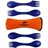 Tapirus Spork2go Spork Set, Four Sporks + Spork Carry Case - Bpa-free Tritan Spoon, Fork & Knife Combo Utensil. Great As Camping Flatware, For Work Lunches, Mess Kits, College Meals and Any Outdoor Activity