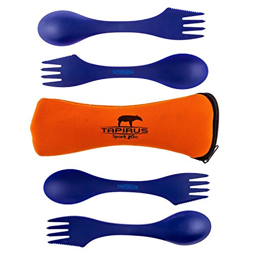 Tapirus 4 Blue Spork To Go Set | Durable & BPA Free Tritan Sporks | Spoon, Fork & Knife Combo Utensils Flatware | Mess Kit For Camping, Fishing, Hunting & Outdoor Activities | Comes In A Carrying Case
