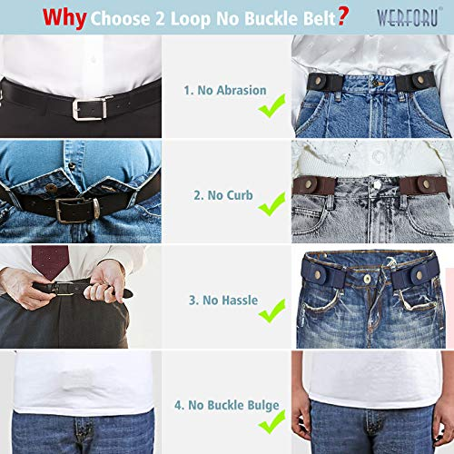No Buckle Elastic Belt, Buckle-Free Invisible Waist Belt for Women Men, Unisex Durable Invisible Adjustable Stretch Waist Belt, Black