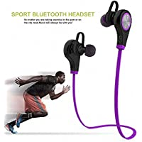 SZMWL Bluetooth Headphones Q9 Hands-free Calling Earbuds Wireless Bluetooth 4.1 Stereo Sport Headset Earphone with Built-in Mic (Purple)