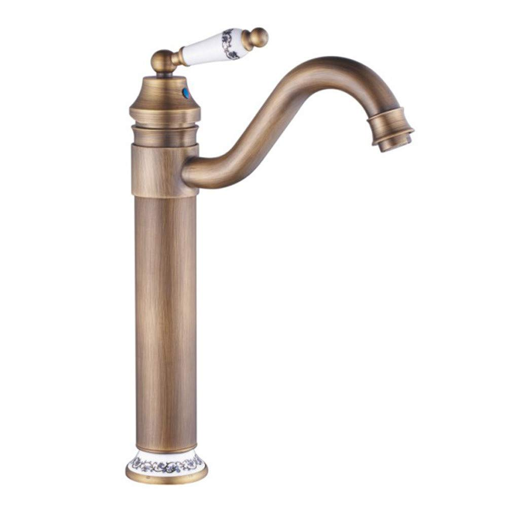 A SYW Bathroom fittings copper antique basin faucet wire drawing plus high end hot and cold water single handed washbasin faucet,B