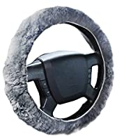 Zone Tech Plush Genuine Sheepskin Stretch- On Vehicle Steering Wheel Cover Gray Car Wheel Protector