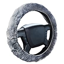 Zone Tech Luxurious Non-slip Car Decoration Steering Wheel Plush Cover – Gray Authentic Sheepskin Thermal Steering Wheel Cover