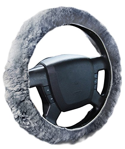 Zone Tech Plush Genuine Sheepskin Stretch- On Vehicle Steering Wheel Cover Gray Car Wheel Protector (Pink Shaggy Car Accessories compare prices)