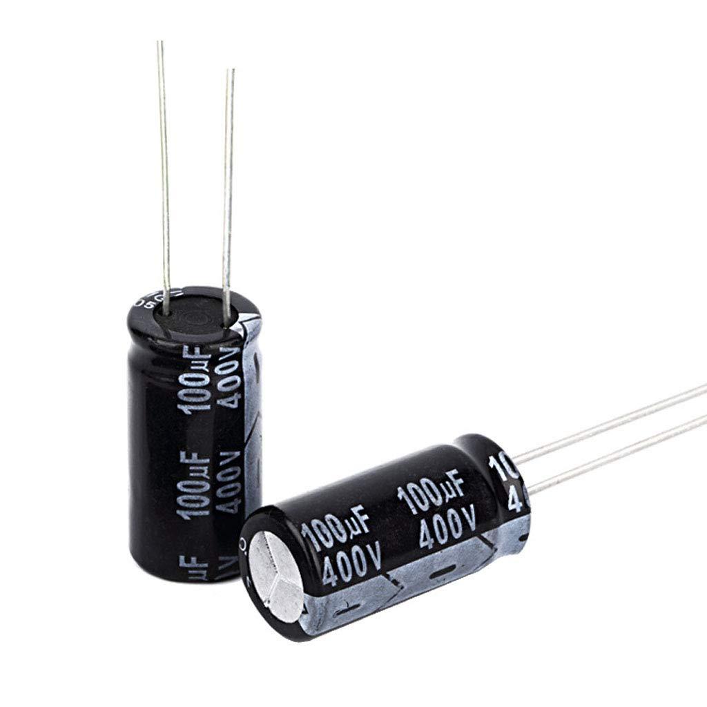 yinuiousory 10pcs 400V 100/µF Elektrolytkondensator Aluminium Hochfrequenz DIY Zubeh/ör