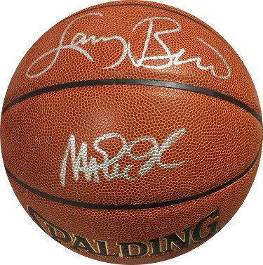 Magic Johnson Signed Autograph Spalding Indoor Outdoor TB NBA Basketball With Larry Bird silver sigs Los Angeles Lakers