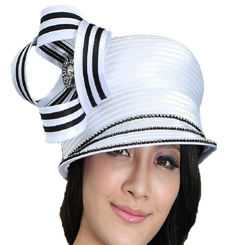 June's Young Fashion Church Hat for Women Satin Hat Ribbo...