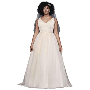 Appliqued Glitter Tulle Plus Size Wedding Dress Style ...