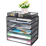 Samstar Paper Tray Organizer,Letter Trays Desk File Organizer with 3 Compartments,Black
