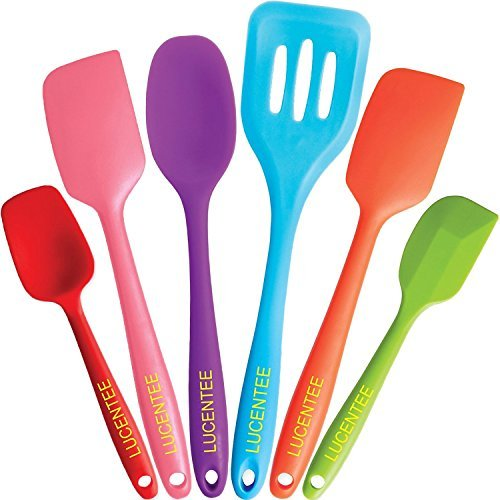 Silicone Spatula Baking Set - 6 Piece Cooking Utensils - Spatulas, Spoons & Turner - Heat Resistant - Non Stick & BPA Free (Multicolor) By Lucentee