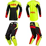 O'Neal Element Racewear Neon Yellow Adult motocross MX off-road dirt bike Jersey Pants combo riding gear set (Pants W30/Jersey Medium)