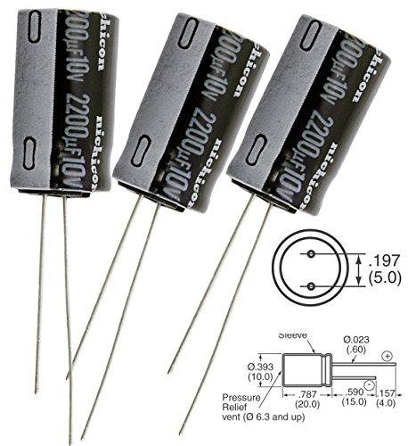 Nichicon 2200uF 10v radial capacitors, Tolerance 20%, @105C, 10X 20mm ( Pack of 3)