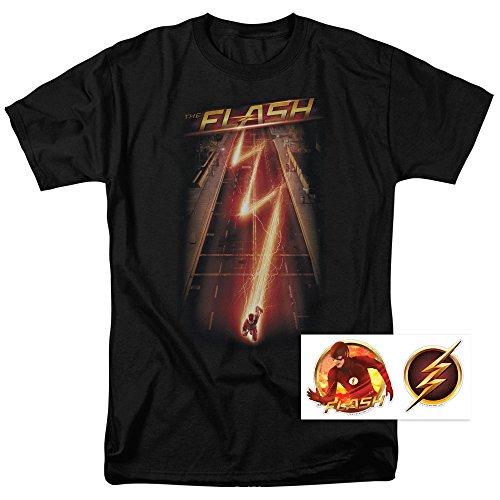 The Flash Firestorm Lightning Bolt T Shirt & Exclusive Stickers (X-Large)