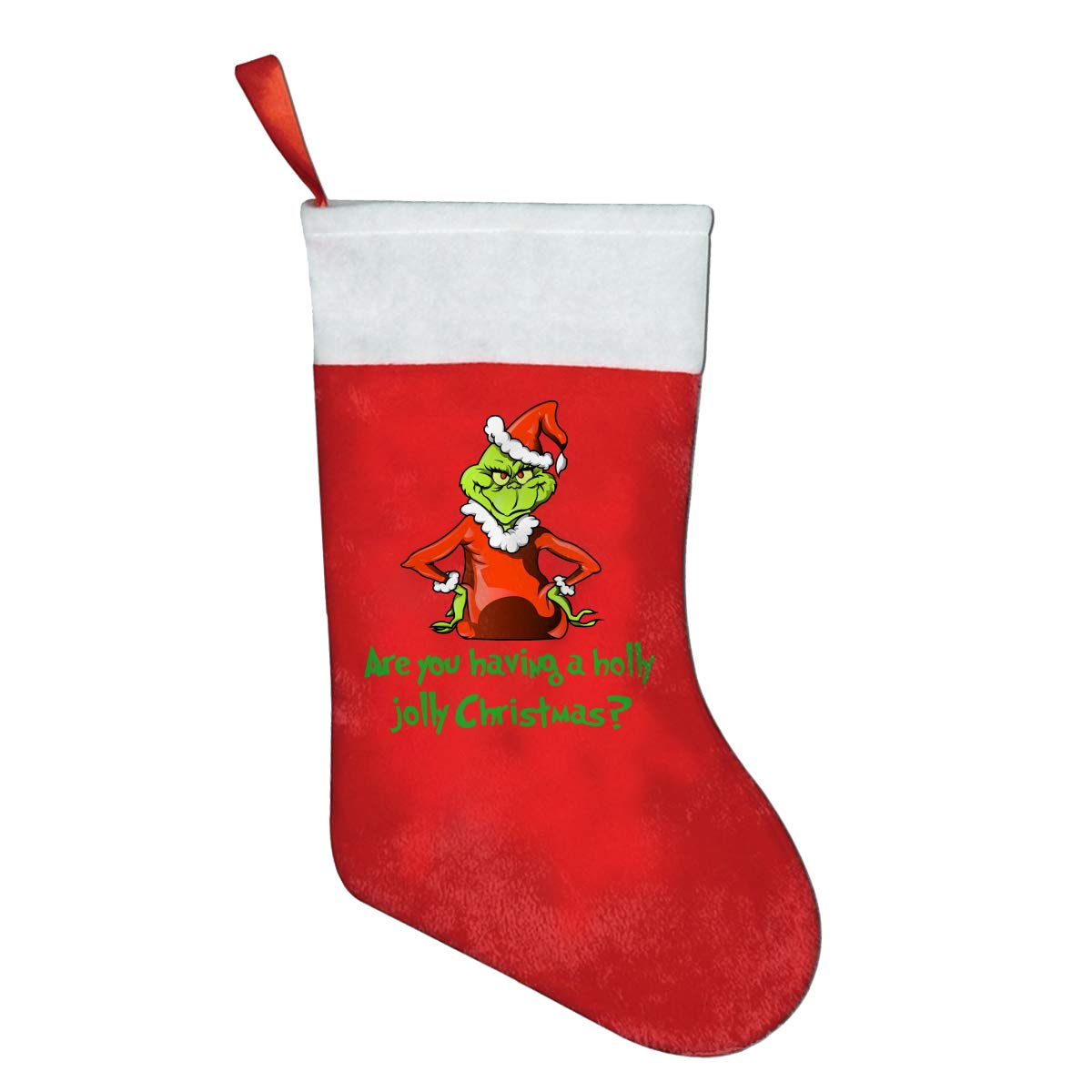 JANESHOOP The Grinch Stole Christmas Classic X-mas Christmas Socks Gift Bags Gift Bags Christmas Decorations Santa Claus Socks Candy Bags Red