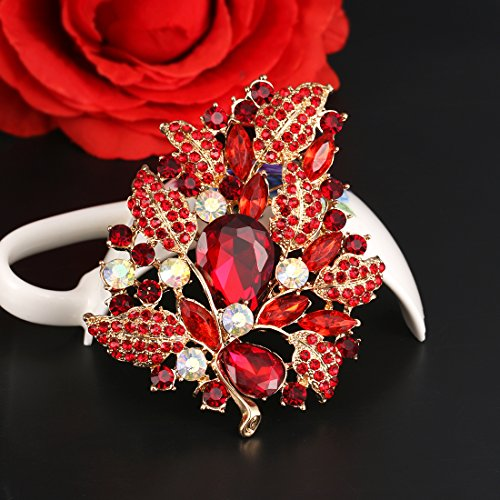 WeimanJewelry Gold Plated Large Rhinestone Glass Crystal Wedding Flower Leaf Bouquet Brooch Pin for Women (Red) by WeimanJewelry (Image #3)