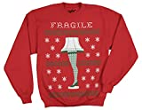 Ripple Junction A Christmas Story Fragile Leg Lamp Faux Sweater Adult Sweatshirt Large Red