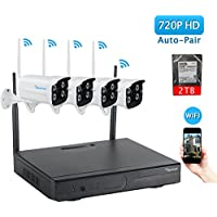 Wireless Security Camera System,Amorvue 4CH 720P Video Security System(WIFI NVR Kits),4pcs 720P Wireless Indoor/Outdoor Bullet IP Cameras,P2P,Superior Night Vision, Plug and play( With 2TB HDD)