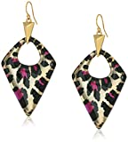 Alexis Bittar Pointed Pyramid Beige Panther Drop Earrings