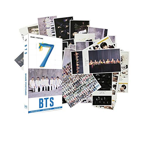 340PCS Bangtan Boys Gift Set Perfect for Army Daughter (30PCS BTS Postcards, 30PCS BTS Small Cards, 280PCS BTS MiniStickers)(Grey)