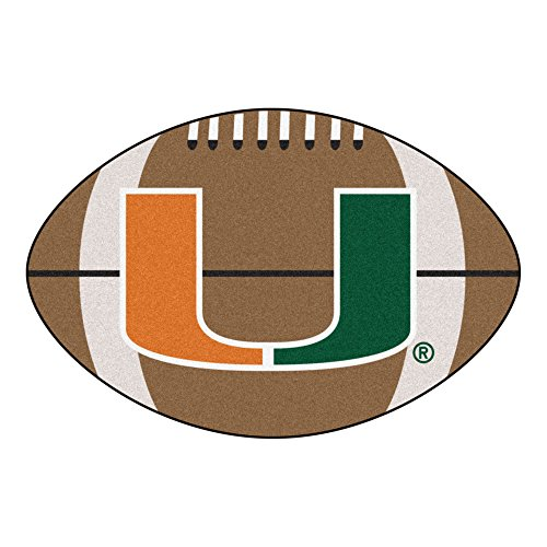 FANMATS NCAA University of Miami Hurricanes Nylon Face Football (Miami Football Mat)