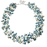 HinsonGayle 'Nora' 4-Strand Handwoven Aquamarine & White Freshwater Cultured Pearl Necklace-20 in length