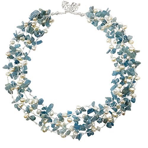 HinsonGayle 'Nora' 4-Strand Handwoven Aquamarine & White Freshwater Cultured Pearl Necklace-20 in (Beryl Designer Earrings)