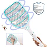 Bug Zapper Racket,Electric Fly Swatter,Fly Killer and Mosquito Swatter - USB Rechargeable - 3000 Volt - Bright LED Light - Unique 3-Layer Safety Mesh Safe(Blue)